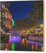 Christmas Lights On The Riverwalk 2 Wood Print