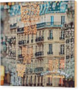 Christmas Lights Paris At Twilight Wood Print