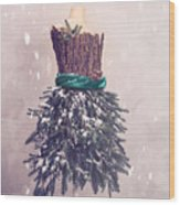 Christmas Mannequin Dressed In Fir Branches Wood Print