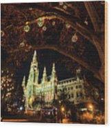 Christmas Market At The Vienna City Hall Wood Print