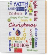 Christmas Message  -  Typography Wood Print