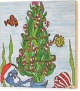 Christmas Of The Sea Tree Wood Print