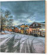 Christmas On Main Street Wood Print by Brad Granger
