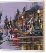 Christmas On Main Street Wood Print