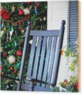 Christmas On The Porch Wood Print