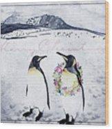 Christmas Penguins Wood Print