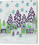 Christmas Picture In Green And Blue Colours Wood Print