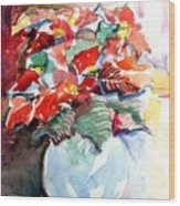 Christmas Poinsettia Wood Print by Mindy Newman
