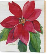 Christmas Poinsettia Wood Print