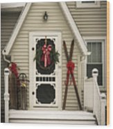 Christmas Porch Wood Print
