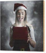 Christmas Present Girl Opening Magic Gift Box Wood Print
