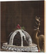 Christmas Pudding With Cream Wood Print