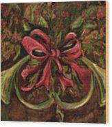Christmas Red Ribbon Wood Print