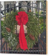 Christmas Ribbon On Iron Door Wood Print