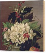 Christmas Roses Wood Print