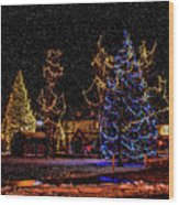 Christmas Snow Storm In Big Bear Wood Print
