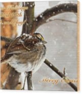 Christmas Sparrow - Christmas Card Wood Print