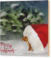 Christmas Squirrel  Greeting Card Wood Print