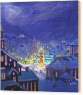 Christmas Town Wood Print by Philip Straub