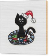 Christmas Train Kitty Cat Wood Print