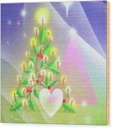 Christmas Tree And Colors Wood Print