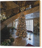 Christmas Tree And Staircase Marble House Newport Rhode Island Wood Print