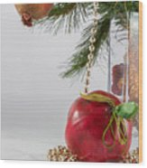 Christmas Tree Branch And Decoration In A Vase Wood Print
