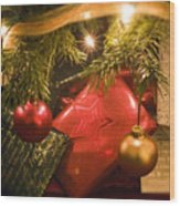 Christmas Tree Decorations And Gifts Wood Print