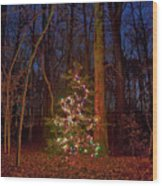 Christmas Tree In Forest Wood Print