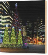 Christmas Tree On New Year's Eve In The Street Of A Big City Wood Print