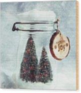 Christmas Tree Snowglobe Wood Print