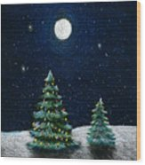 Christmas Trees In The Moonlight Wood Print