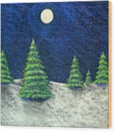 Christmas Trees In The Snow Wood Print