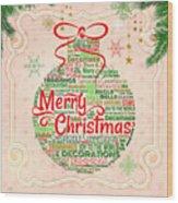 Christmas Words Ornament Wood Print