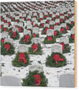 Christmas Wreaths Adorn Headstones Wood Print