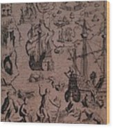 Christopher Colombus Discovering The Islands Of Margarita And Cubagua Where They Found Many Pearls Wood Print