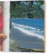 Christy At The Beach Wood Print