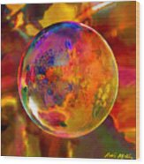 Chromatic Floral Sphere Wood Print