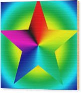 Chromatic Star With Ring Gradient Wood Print by Eric Edelman