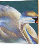 Chrome Swan Wood Print