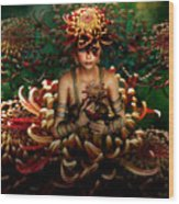 Chrysanthemum Bouquet 004 Wood Print