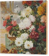 Chrysanthemums In A Walled Garden Wood Print