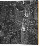 Chrysler Building Aerial View Bw Wood Print