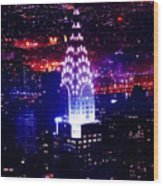 Chrysler Building At Night Wood Print