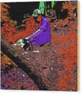Chuck Chainsaw 2 Wood Print