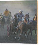 Chuckwagon Racing Wood Print