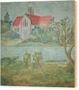 Church Across River Wood Print