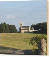 Church Across The Field Wood Print