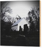 Church And Cemetary- Lens Wood Print