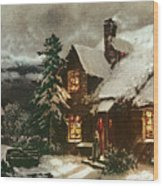 Church And Cottage With Lighted Windows Wood Print